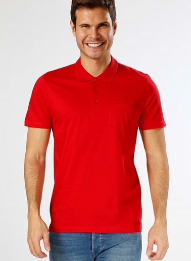 Cotton Bar Polo Yaka Tişört Kırmızı
